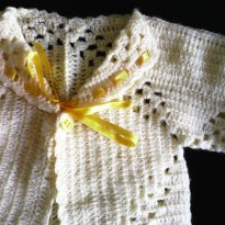 Blusa de crochê amarela - 3 a 6 meses - Artesanal