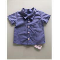0080. Camisa social azul com detalhes brancos - 6 meses - Sem marca