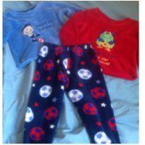 Kit pijama em fleece2 blusa e uma calça super quentinho - 3 anos - Não informada