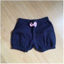 Shorts azul marinho com laço rosa e elástico nas perninhas - Bambini - 3 anos - Bambini