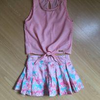 Conjunto Saia Shorts + Blusinha com aplique de pedrinhas - 2 anos - Pupi