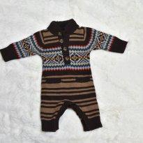 MACACAO TRICO MARROM COM BOTOES BABY GAP - 3 meses - Baby Gap