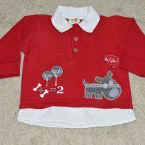 casaquinho vermelho manga longa com sobreposição - 9 a 12 meses - Nini e Bambini