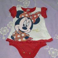 Body Manga Curta Minnie - 6 a 9 meses - Disney