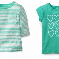 2 Blusas Carters Corações Verde Listrada 18 Meses - 18 a 24 meses - Carter`s