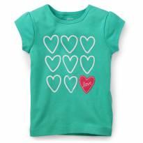 Blusa Camisa Carters Corações Verde 18 Meses - 18 meses - Carter`s