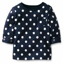Blusa Camisa Carters Manga 3/4 Azul 5 Anos Bolinhas Poa - 5 anos - Carter`s