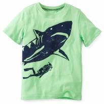 Blusa Camisa Carters Menino Verde Tubarão 12 Meses - 12 a 18 meses - Carter`s