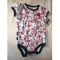 Body Carters Flores 3 Meses Babados Verão Rosa Azul - 3 meses - Carter`s