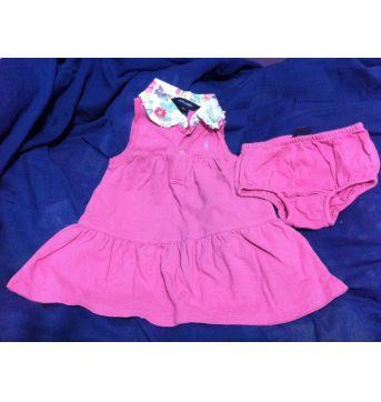 Vestido Importado Rosa Ralph Lauren 12 Meses c/ calcinha - 1 ano - Ralph Lauren