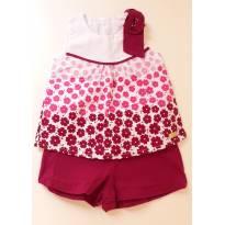 Conjunto blusa e short floral - 6 a 9 meses - Elian