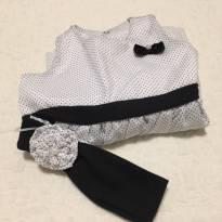 Vestidinho de Branco de Poá Preto - 9 a 12 M - 9 a 12 meses - sassy