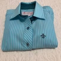 Camisa Petit Dudalina Tam 2 Azul Listradinha - 2 anos - Dudalina