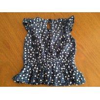 Blusinha - poá azul e branco - Tip Top - tamanho 1T - 12 a 18 meses - Tip Top