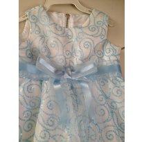 Vestido de festa -Cor  azul e branca - Paola Bimbi -  Tamanho M - 3 a 6 meses - Paola BimBi