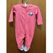 Macacão com pé  - Baby Club - Tamanho M - Cor Rosa - 3 a 6 meses - Baby Club