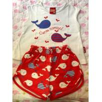 Conjunto de regata e shorts - Tamanho G - 6 a 9 meses - Kyly