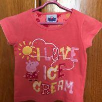 Camiseta manga curta com estampa da Peppa Pig - Tamanho 2-3 - 24 a 36 meses - Renner