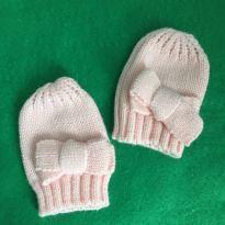 Luva Infantil de Trico para Bebe - Rosa - 6 meses - Artesanal