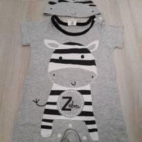 Macacão Romper de Zebra com Touca - 6 a 9 meses - Importado