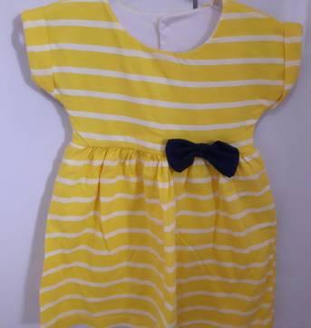 Vestido listrado amarelo fofo G - 6 a 9 meses - Tricae