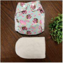 Fralda ecológica de pano Flores + absorvente - Único - Nós e o Davi