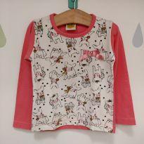 Blusa longa cachorrinho rosa - 2 anos - Jaki Malhas