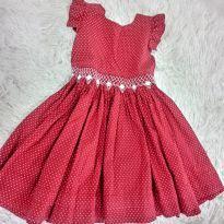 Vestido Poá Vermelho - 3 anos - Não informada