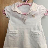 Vestido branco com gola rosa - 3 meses - TARTINE ET CHOCOLAT