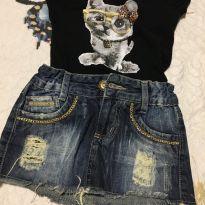 Combo saia jeans + blusinha - 3 anos - Diversas