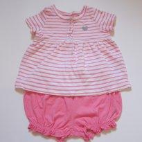 120 Conjunto blusa listrada e short bubble rosa Carters - 6 meses - Carter`s