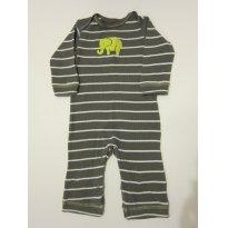 101 Macacão Pijama Cinza com listras 6M - 6 meses - Carter`s