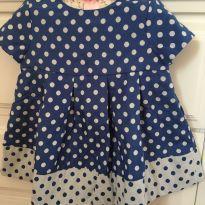 169 Vestido de bolinhas azul marinho - 9 meses - Baby Gap