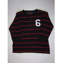 75 Camiseta de manga longa preta e vermelha - 2 anos - Carter`s