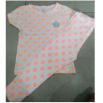 Pijama de malha e bolinhas laranjas - 18 meses - Carter`s