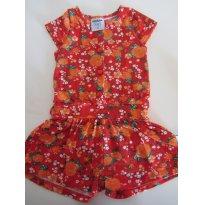 Macaquinho Floral Vermelho Rovitex - Tam 2 (pequeno ! Serve tam 1 ) - 1 ano - Rovitex Kids