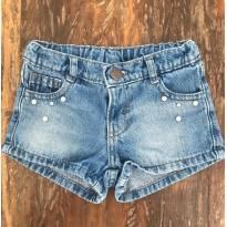 Short Jeans detalhe pérolas - Tam 18 a 24M - 18 a 24 meses - Baby Club