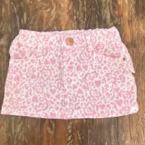Saia Jeans com elastano Animal Print Rosa - Tam 1 - 1 ano - Baby Club