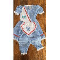 Vestido Festa Junina Xadrez Azul - Tam 2 a 4 anos - 3 anos - Não informada