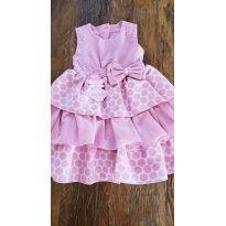 Vestido de Festa Poá Rosa com Pérolas- Tam 3 - 3 anos - Libelinha
