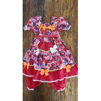 Vestido Festa Junina Floral Vermelho - 3 anos - Não informada