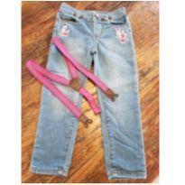 Calça Jeans Baby B`Gosh com suspensório - Tam 4T - 4 anos - OshKosh