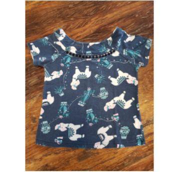 Camiseta Lhama Azul - 4 anos - Cativa