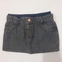 Saia jeans com calcinha Baby way , Tam 12 a 18 meses - 12 a 18 meses - Baby Way