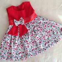 Vestido Primavera de Festa com laço - 9 a 12 meses - Fabricação própria