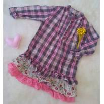 Vestido Xadrez com Babados - 9 a 12 meses - Baby Club