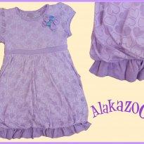 FP285. Vestido Lilás Devorê - 10 anos - Alakazoo!