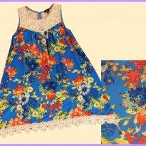FP320. Vestido Floral Azul - 12 anos - Zunie