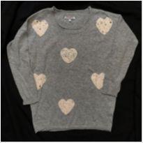 blusão lã cinza corações - 14 anos - Crocker