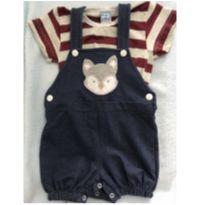 Lindo conjunto de jardineira e camiseta Raposa - 9 a 12 meses - Kid Stok